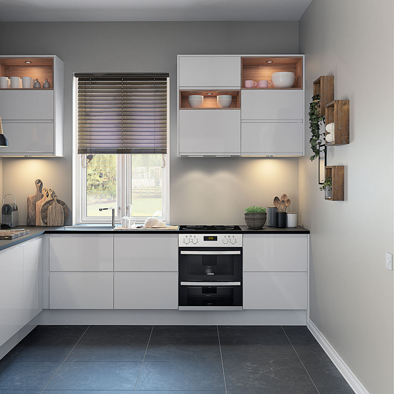 Fitted white one box white kitchen with black tiled floor