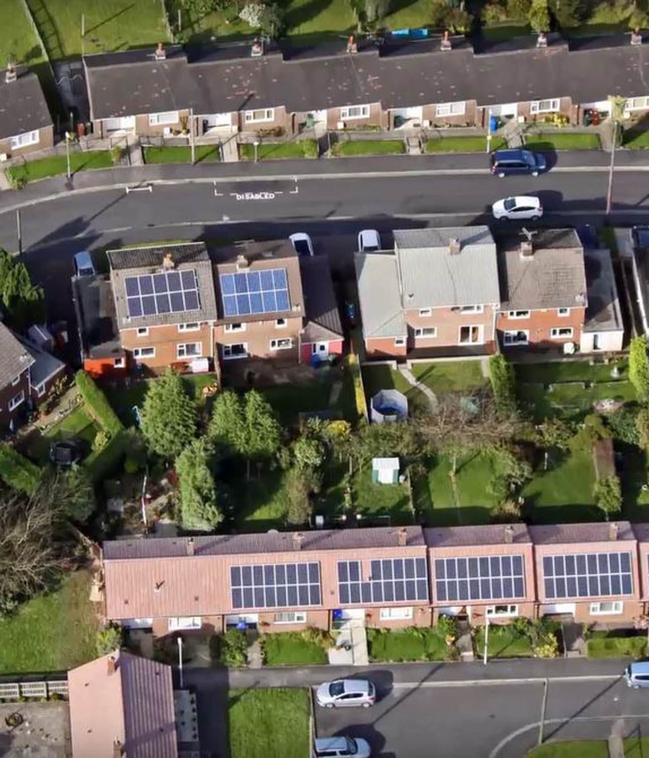 Streets of terraced houses, shot from above