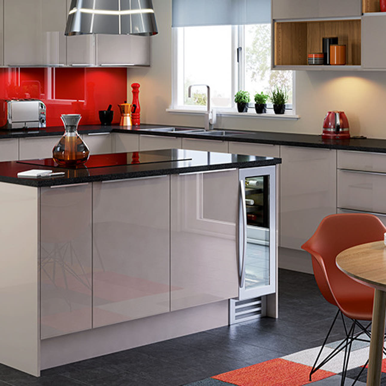 Nova Cashmere gloss slab kitchen