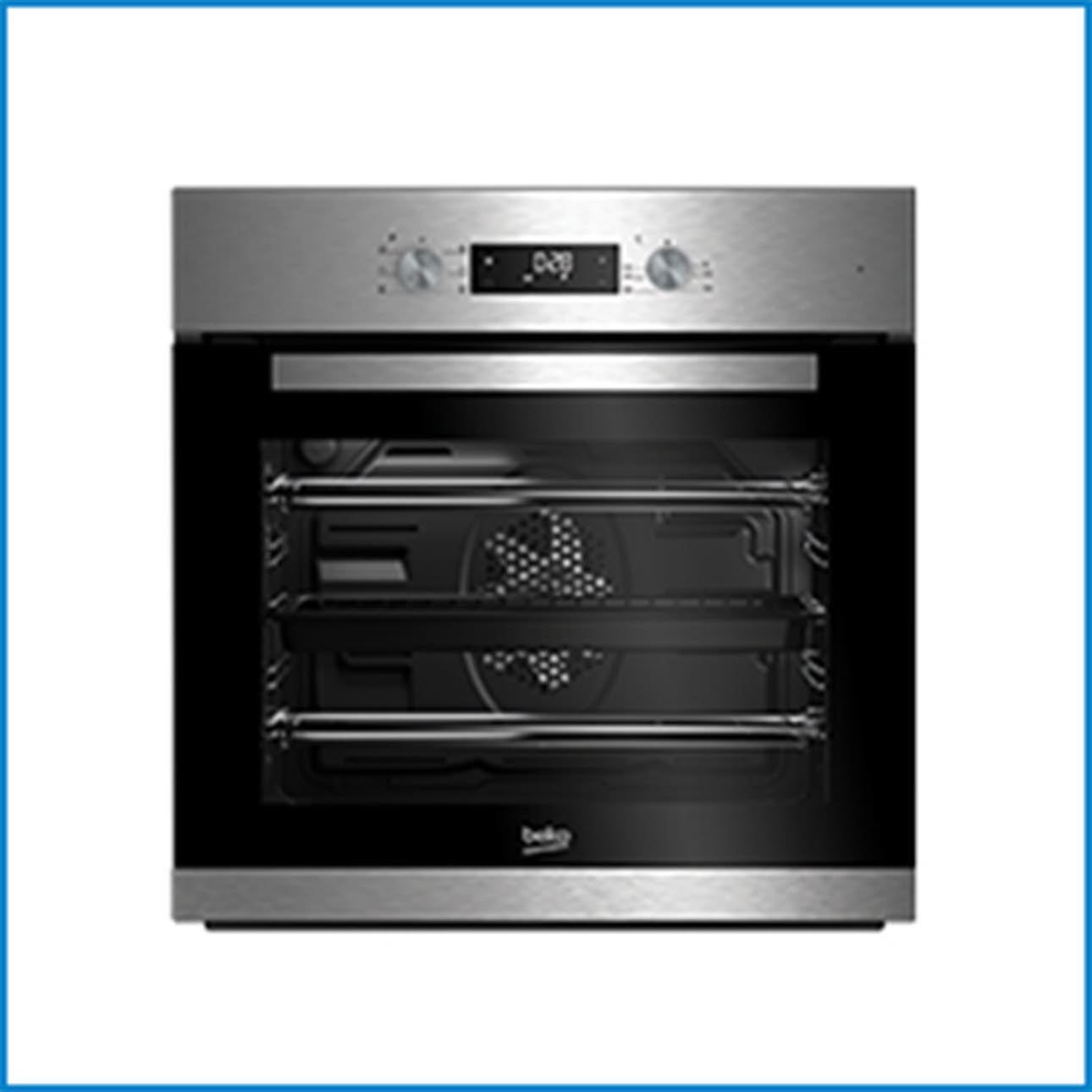 Black & Metallic Beko Oven Front