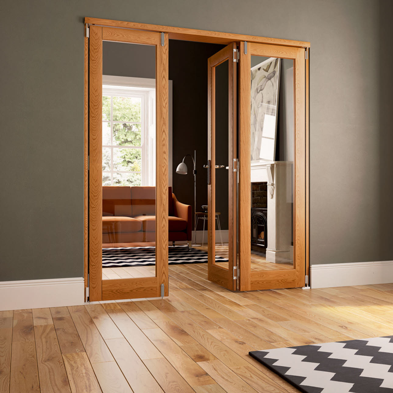 Oak veneer folding internal doors, open