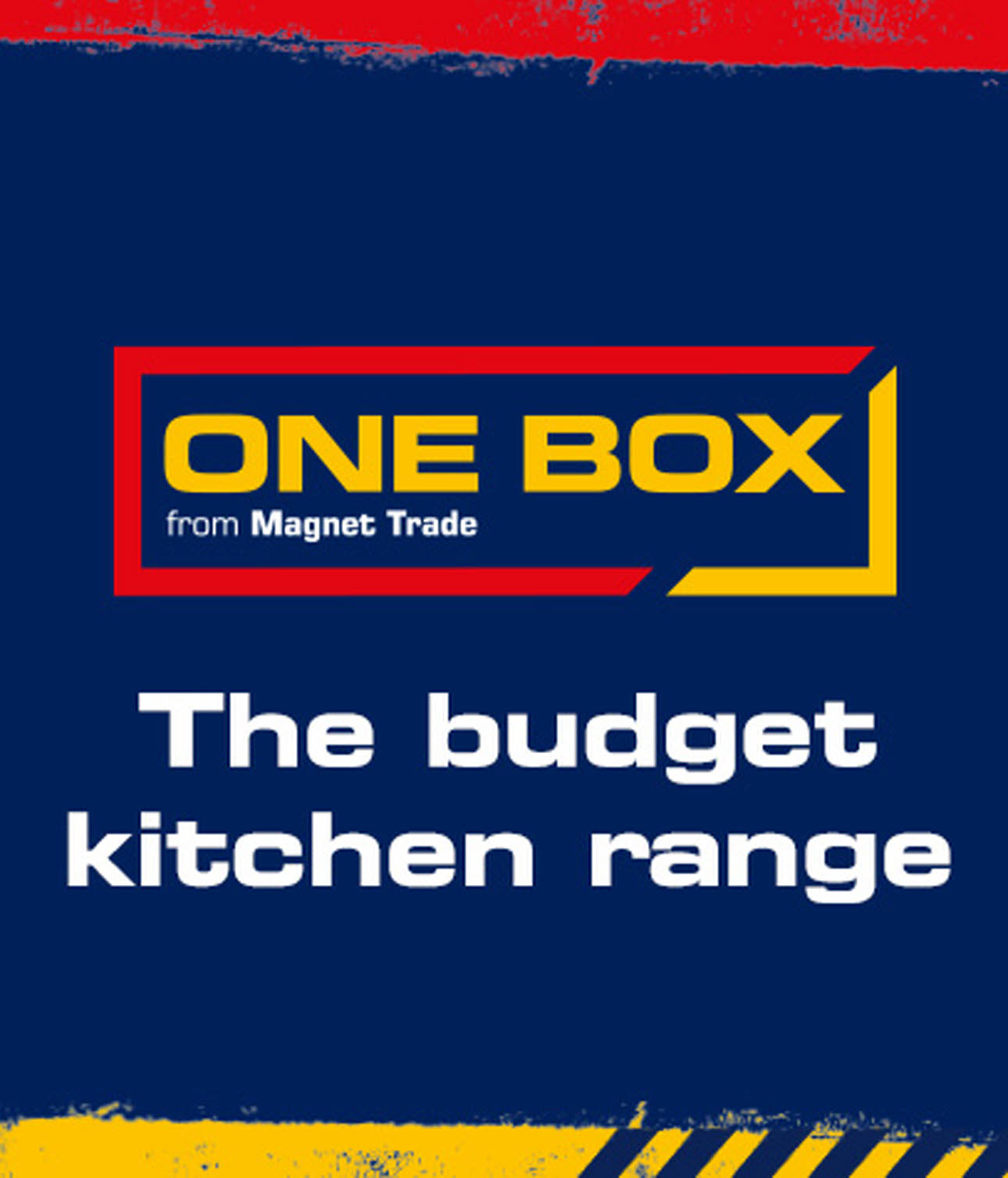 One Box Kitchens Logo - The budget kitchen range, blue, red & yellow
