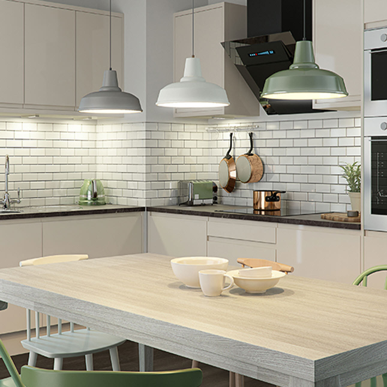 Luna Cream gloss handleless kitchen