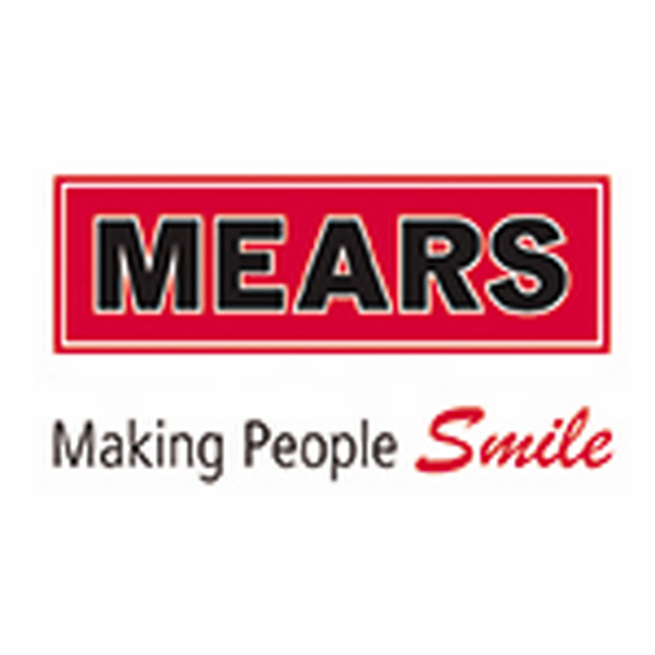 Mears Logo, Making People Smile, red, white and black