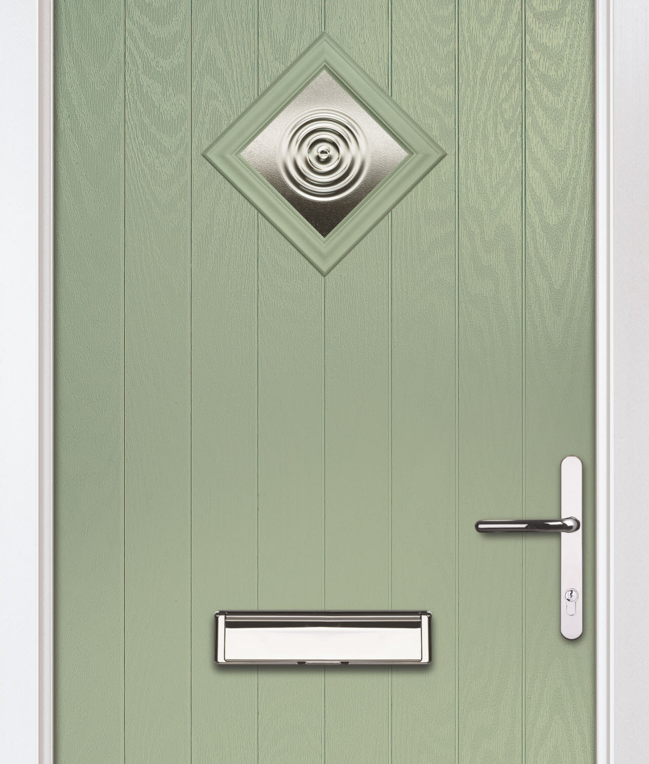 Green external door, exterior shot