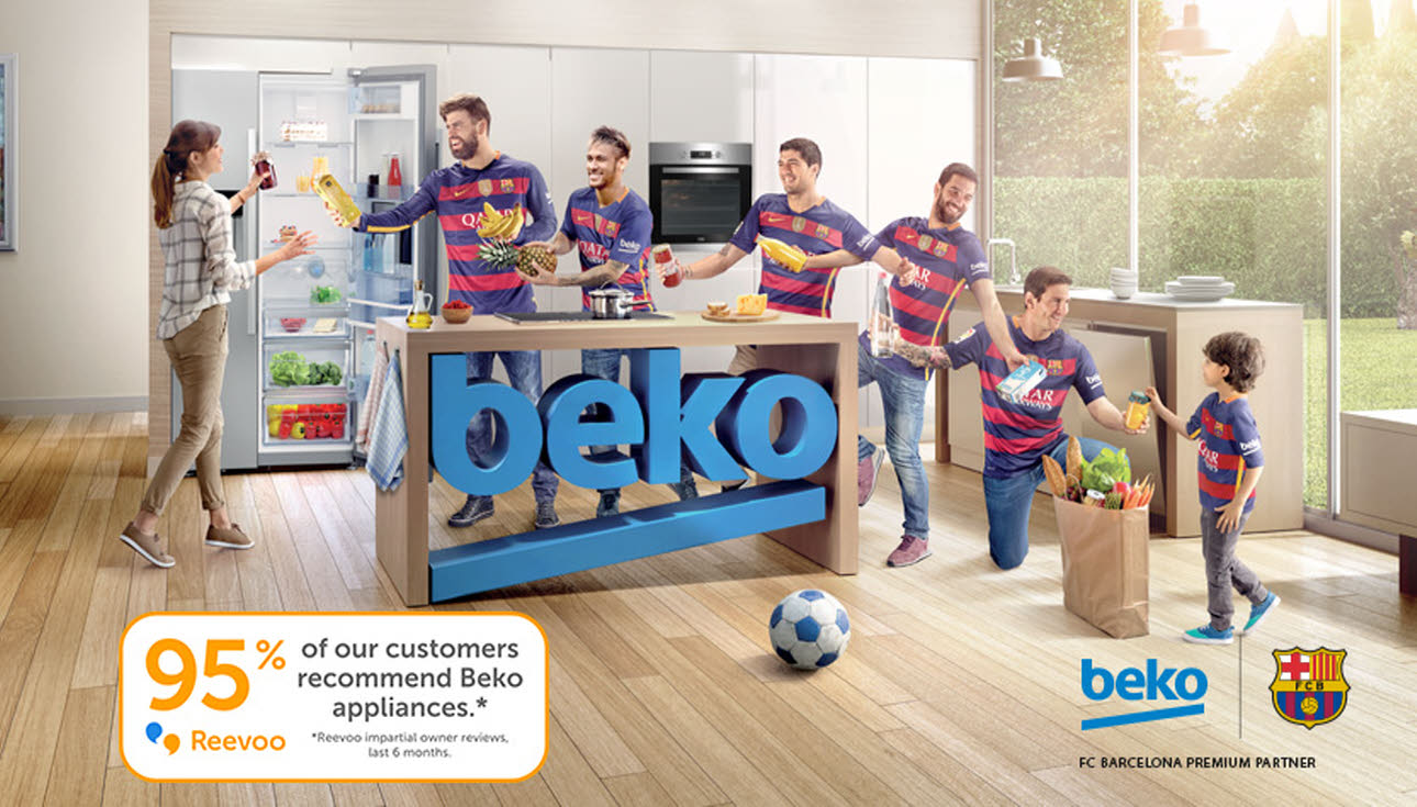 Five FC Barcelona players in Beko kitchen with mother & child