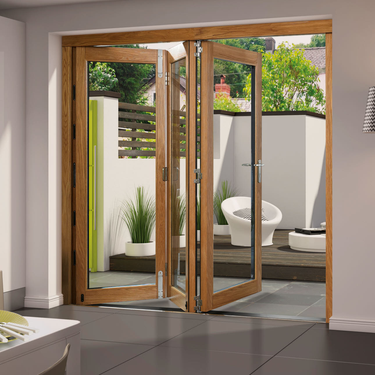 Aluminium clad oak folding kitchen door