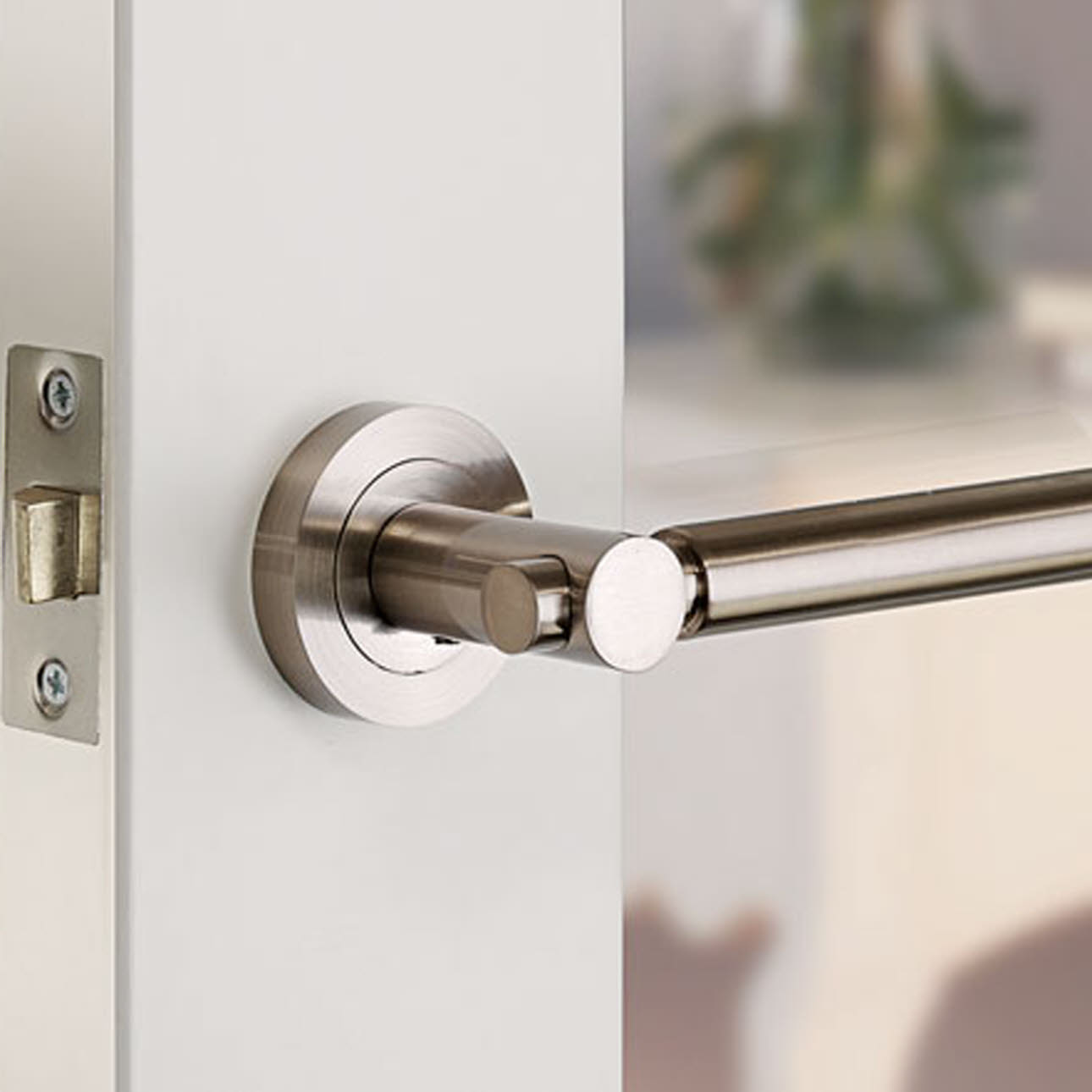 Metallic door handle on open door