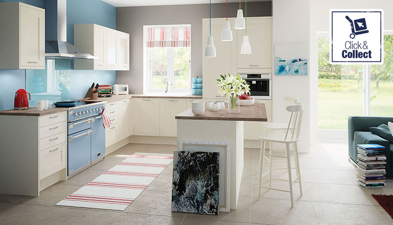 Cream Tatton kitchen, available for click & collect