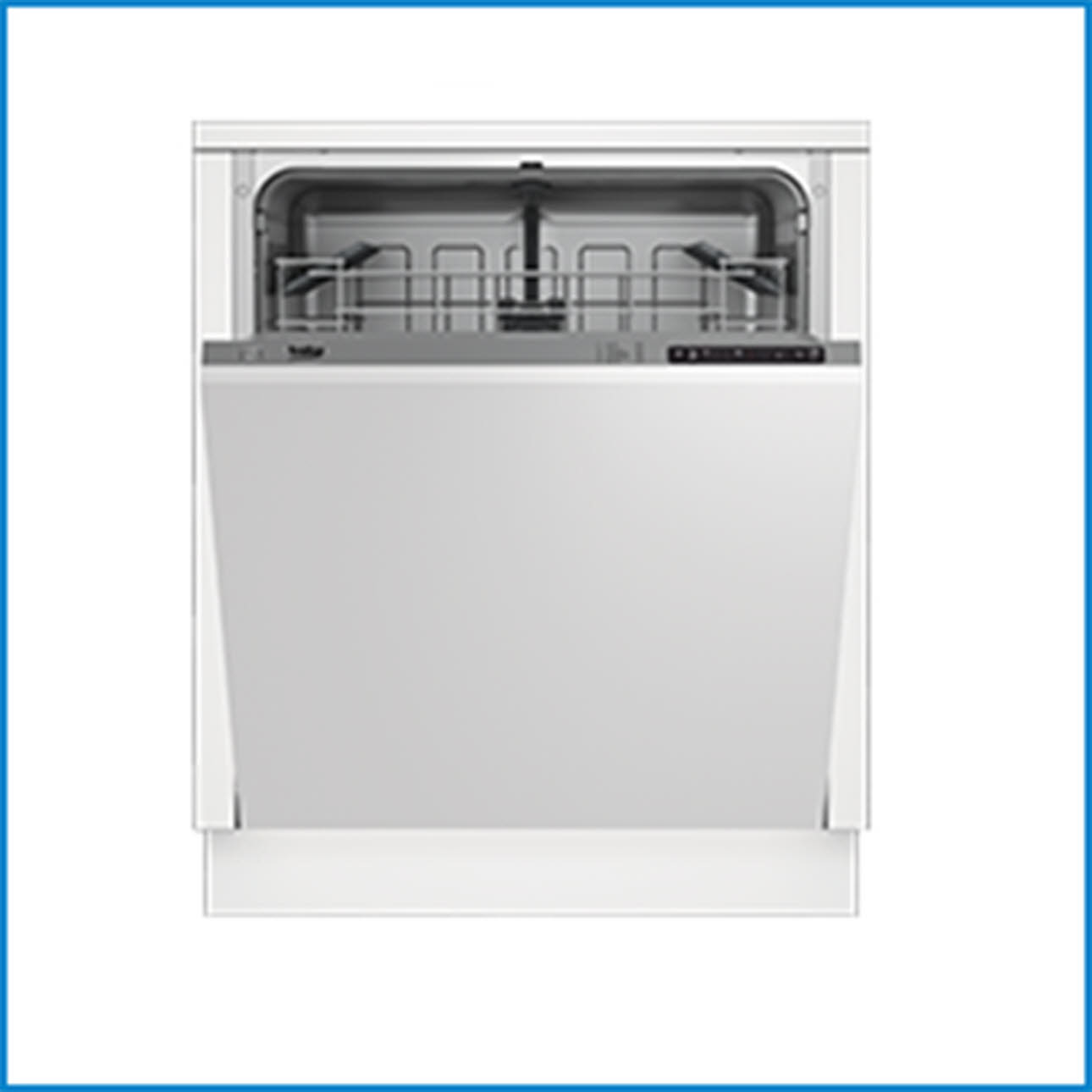 White Beko dishwasher, frontal door ajar