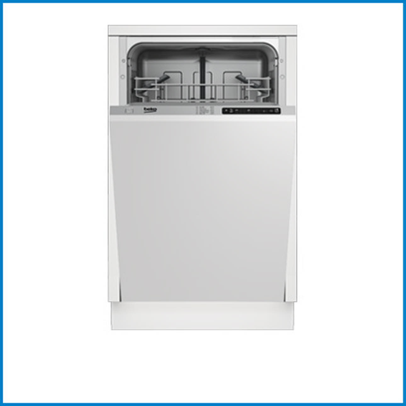 White Beko slimline dishwasher