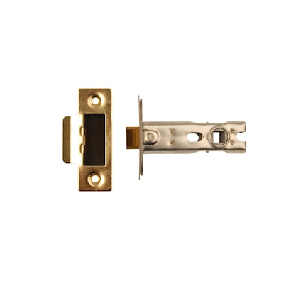 Bolt Through Latch CE Polished Brass Plated 76mm