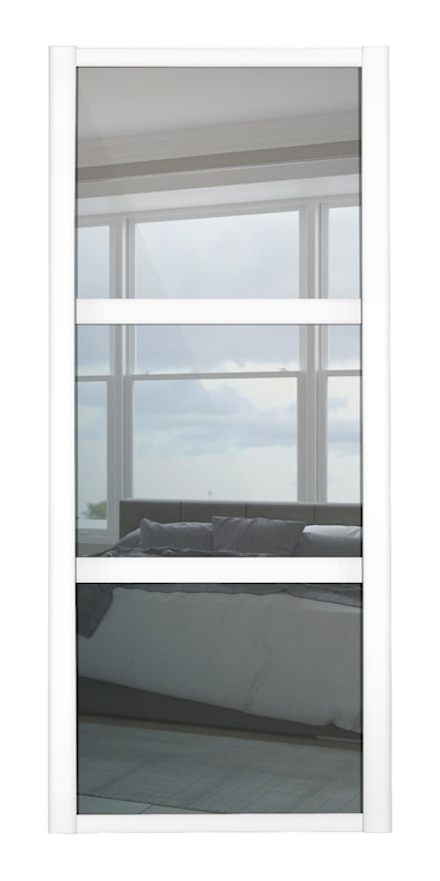 Shaker 3 Panel Mirror Sliding Door with White Frame