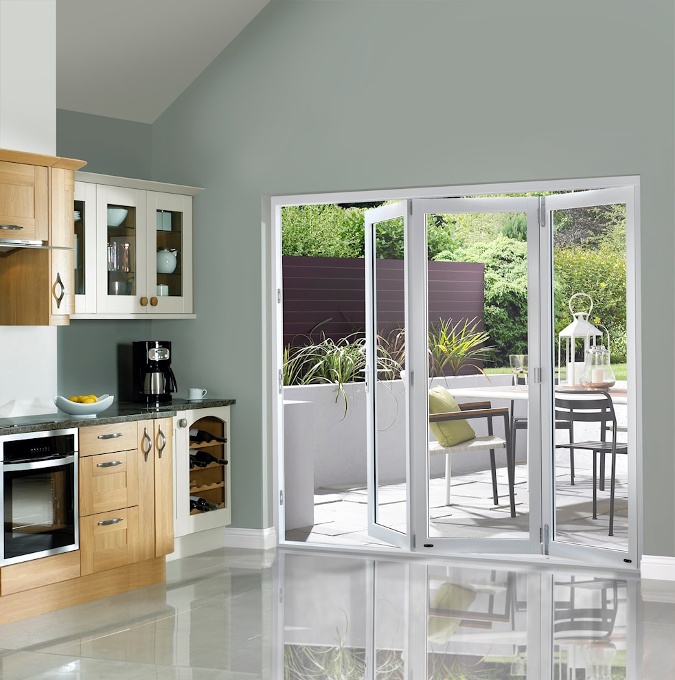 White pre finished external bifold doors 1790 3590 x for French doors barnsley