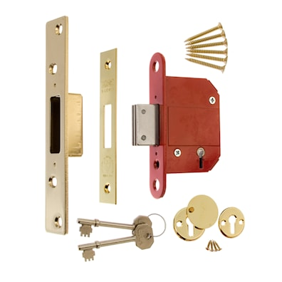 Fortress 5 Lever Deadlock 76mm Brass Effect BS3621