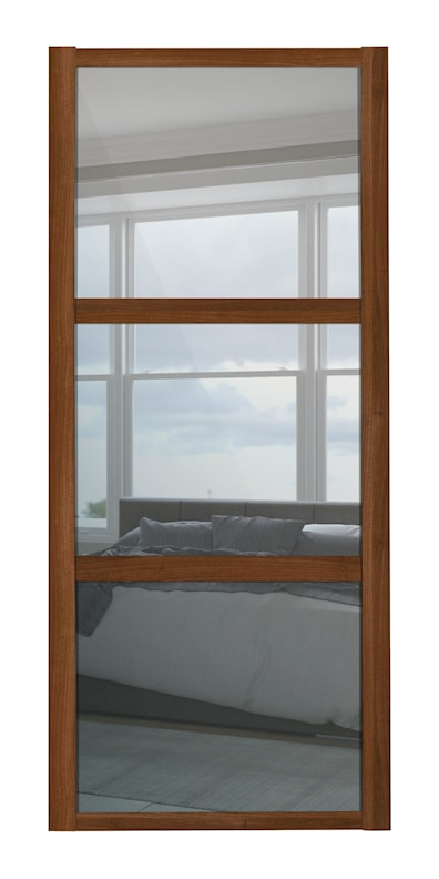 Shaker 3 Panel Mirror Sliding Door with Walnut Frame