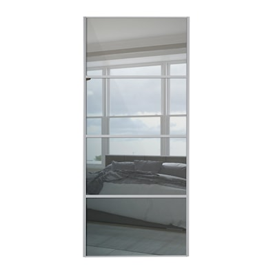 Sliding 4 Panel Mirror Door with Silver Frame 914mm
