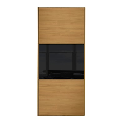 Linear 762mm 3 Panel Sliding Door with Oak Frame