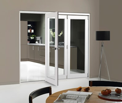 White Fully Finished Folding Doorset Glazed Clear