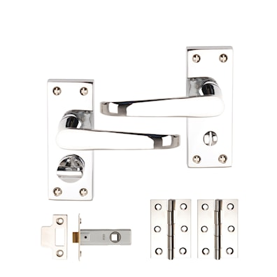 Victorian Flat Privacy Latch Lever Pack Polished Chrome Plated