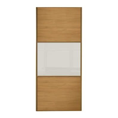 Linear 914mm 3 Panel Sliding Door with Oak Frame
