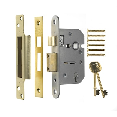 5 Lever Mortice Sashlock 64mm Brass Effect