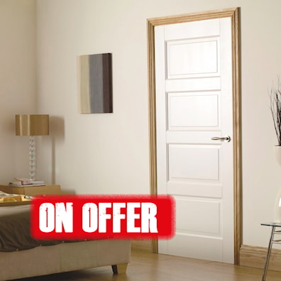 Contemporary 4 Panel White Primed Internal Door