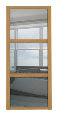 Shaker 3 Panel Mirror Sliding Door with Oak Frame