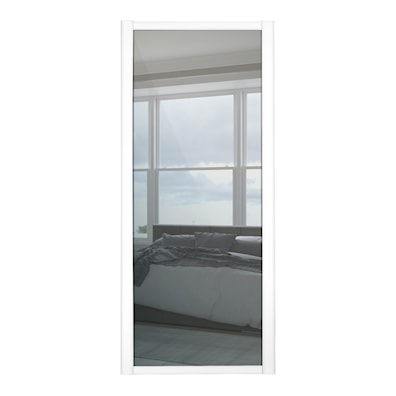 Shaker 914mm 1 Panel Mirror Sliding Door and White Frame