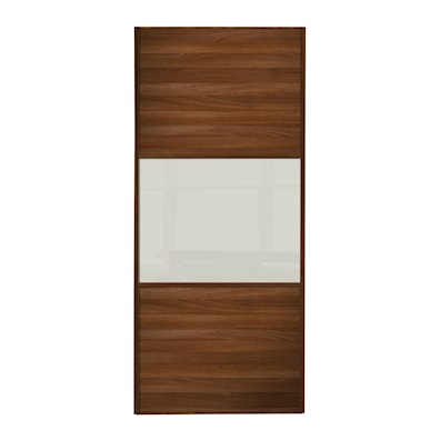Linear 762mm 3 Panel Sliding Door with Walnut Frame
