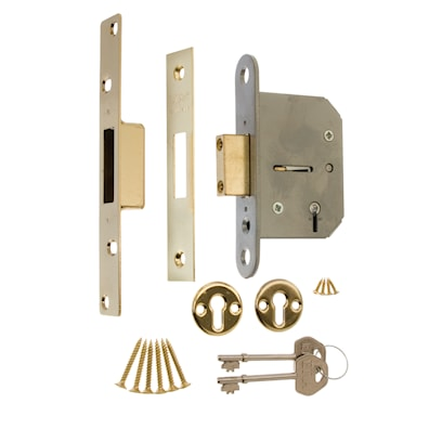 5 Lever Mortice Deadlock 64mm Brass Effect